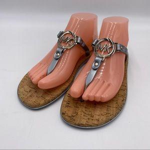 NWT Michael Kors Logo Silver Jelly Cork Sandals